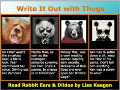 Dedicated to Sharon MacDonald and Felicia Flores. You inspire me. Thank you. (RE&D) Write It Out! Lisa Keegan's novel, Rabbit Ears & Dildos coming your way soon! A Non-Fictional Journey of Self Satisfaction of Fictional Proportion! Sexy, humorous, tearful but FUN!