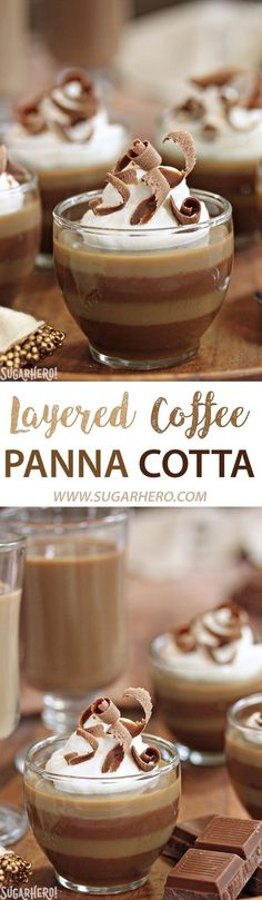 Layered Coffee Panna Cotta - an easy coffee dessert with gorgeous layers of vanilla and mocha flavors! | From SugarHero.com