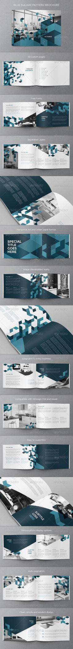 Blue Square Pattern Brochure - Brochures Print Templates