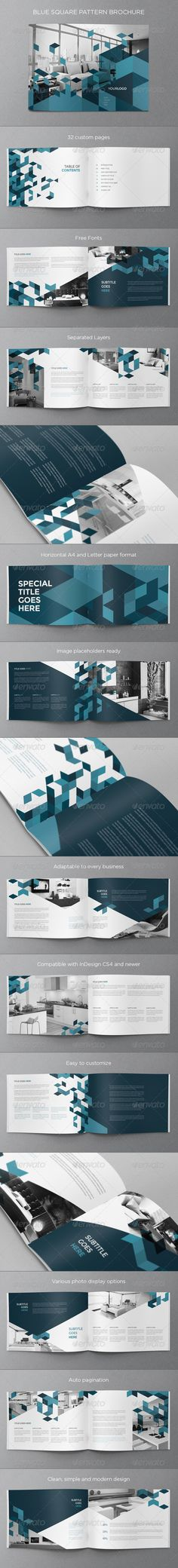 Blue Square Pattern Brochure - Brochures Print Templates