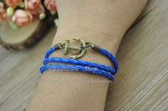 Retro bronze anchor charm leather braceletBlue by Richardwu, $5.50