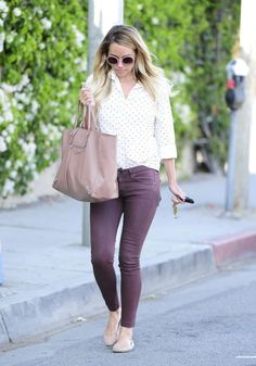 Lauren Conrad Kate Somerville April 15 2014, white polka dot blouse