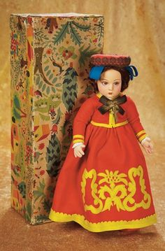 The Empress and the Child - Antique Dolls: 250 Italian Felt Character Doll in Original Costume by Lenci