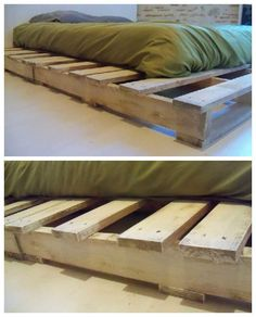 "Cool Pallet Bed Made From Recycled Pallets  #bed #bedroom #palletbed #recyclingwoodpallets Here is my new pallet bed made with 4 pallets (100*110cm). I've used a ""shell"" color paint.   Voici mon nouveau lit confectionné grâce à 4 pale..."