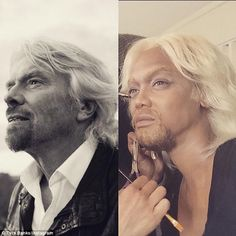 Hero worship: The 41-year-old model shared a picture of her uncanny transformation into the bearded British airline owner - complete with blonde locks and goatee beard