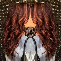 long marsala hair with caramel highlights love this color!