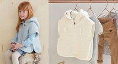 Bien au chaud pour affronter l'hiver, les enfants vont adorer ce poncho. A tricoter au point mousse et côtes 1/1. Tailles: a) 4; b) 6 ; c) 8-10; d) 12; e) 14-16 ans. Le matériel Fil ...