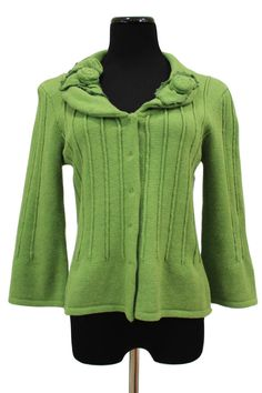 CAbi 871 Floral Cardi Green Embellished Snap Front Cardigan Sweater Size M