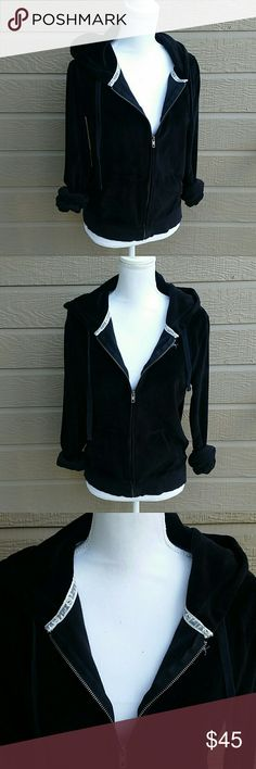 """PINK Victoria's Secret black velour bling hoodie PINK Victoria's Secret black velour """"LOVE PINK"""" sequin detail hooded jacket. Size LARGE. Very soft material, in excellent condition.   Bundle for a discount or make an offer! PINK Victoria's Secret Jackets & Coats"""
