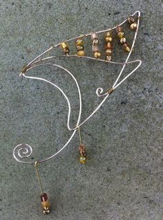 Pair of pink elf ears with gold glass beads by CourtoftheFey, $35.00