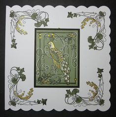 """'Bird of Paradise' card. - Imagination Craft's - Silver/gold Starlight paint.  White gel pen.  Black ink pad.  Light green card.  Black card.  6"""" square white scalloped card.  Art Nouveau stamp set, by Jennifer  Ellory, given free with a craft Magazine.  September 2016.   Designed  by Jennifer Johnston."""