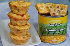 Mini frittata cu ardei si porumb - CAIETUL CU RETETE Quinoa, Brunch, Cooking Recipes, Meat, Chicken, Vegetables, Sim, Food, Sweet