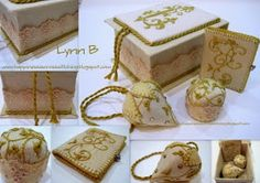 Gold embroidered gift set