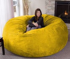 Chill Sack Bean Bag, Microsuede - Lemon #CuteGiftIdeas #Gift #LazySofa