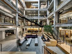 Completed in 2014 in Detroit, United States. Images by Justin Maconochie. A creative space for a creative company. Neumann/Smith Architecture helped advertising agency, Lowe Campbell Ewald, breath new life into a Architecture Office, Architecture Photo, Open Space Architecture, Cool Office Space, The Office, Commercial Design, Commercial Interiors, Atrium Design, Lobby Design