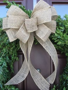 burlap wreath bow burlap bow Christmas bow by TheRusticRaven How To Make A Ribbon Bow, Diy Ribbon, Ribbon Bows, Burlap Christmas, Christmas Bows, Christmas Decorations, Burlap Flowers, Burlap Bows, Diy Wreath
