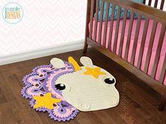 Sophia the Starry Unicorn Rug PDF Crochet PatternCrochet pattern PDF by IraRott for making a beautiful unicorn rug or reading mat Unique Crochet, Crochet Bebe, Crochet For Kids, Bernat Super Value Yarn, Crochet Rug Patterns, Crochet Rugs, Crab Stitch, Pom Pom Rug, Pom Poms