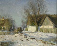 Lilla Sörup - soligt vinterlandskap med häst och vagn , 1922 - Peder Mørk Mønsted