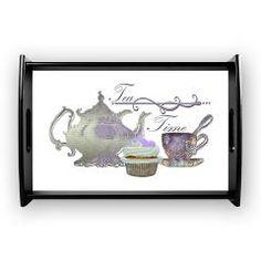 Tea Time Lilac Tea Set and Cupcake Coffee Tray