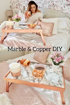 A fun Marble and Copper Diy, using some Rustoleum Bright Copper spray paint and some marble effect contact paper from Woodies.