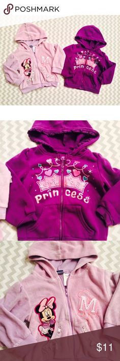 """Girls Jacket Bundle - Disney/Okie Dokie - Purple Set Of 2 zip up hoodies jackets in size 2T. One is Okie Dokie brand in purple with the word """"Princess"""" on it and the other one is lavender with Minnie Mouse on it. Both are in used condition. No stains or rips. They do have some minor wash wear.  Measurements-  Lavender Minnie-  Chest: about 13 in.  Length: 12.5 in.  Shoulders: 11 in.  Sleeves: 11 in. Disney Jackets & Coats"""