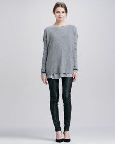 Colorblock Crewneck Sweater, Boat-Neck Tee & Moto Leather Pants