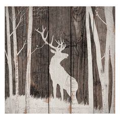 Deer Wood Silhouette Wall Art - Exclusive - A cream stag silhouette contrasts with weathered finishes on this wood wall art with a charming vintage look. Wood Pallet Art, Pallet Painting, Wood Pallets, Painting On Wood, Diy Wood, Wood Paintings, Rustic Painting, Art On Wood, Painted Pallets