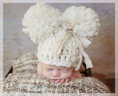 Baby Girl Pom Pom Hat Big Pompoms Off White by Doodlebopperz, $32.00