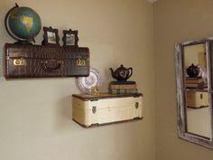 Vintage suitcase shelves!!