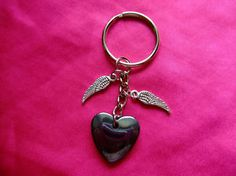 HEMATITE 'Angel Wings' Crystal, Gemstone Bag charm / keyring | eBay