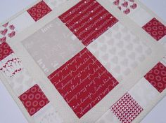 Valentine Quilted Table Topper Valentines Day Quilted Table