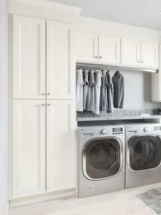 Small or large, we are inspired by these laundry room layouts and designs . # desi or large, we are inspired by these laundry room layouts and designs .Small or large, we are inspired by these laundry room l Mudroom Laundry Room, Laundry Room Layouts, Laundry Room Remodel, Laundry Room Cabinets, Laundry Room Organization, Laundry Room Storage, Laundry In Bathroom, Diy Cabinets, Cabinet Storage