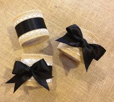 Burlap Napkin Rings with Lace and Black Satin Ribbon