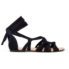 ShoeDazzle Flat Sandals Denitsa Womens Black ❤ liked on Polyvore featuring shoes, sandals, black, flat sandals, ankle tie sandals, lace up flat shoes, black sandals, black flat shoes and lace up sandals