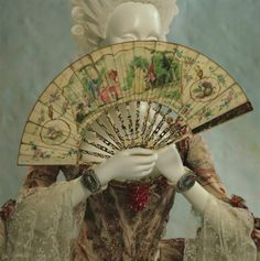 Fan and robe a la francaise, 1760s.