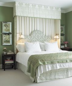 Create an old-world atmosphere with a ceiling mounted canopy — made of the same fabric as the bed skirt — adds height and dramatic flair to this elegant bedroom. Photographer: Michael Graydon Source: House & Home January 2008 issue Bedroom Green, Green Rooms, Green Walls, Olive Bedroom, Pretty Bedroom, Master Bedroom Design, Home Bedroom, Master Bedrooms, Bedroom Ideas