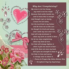"""Why Am I Complaining"" by Helen Steiner Rice, Scrapbook Page by Angelwings."