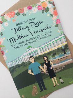 custom illustrated save the dates : the grand hotel : mackinac island
