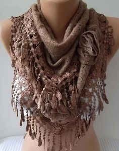 NEW Gorgeous Scarf   Elegant and Classy cappuccino brown by womann, $25.00