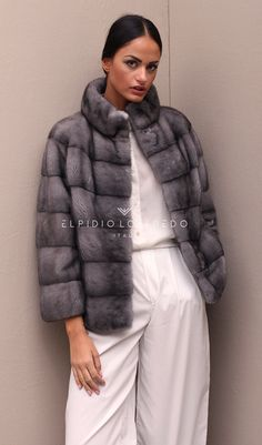Blue Iris Female Mink Jacket with Round Collar color Grey Length 62 cm