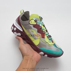 Undercover x Nike React Element 87 Green Volt Coffee ec5d05bc2