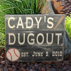 Reclaimed, painted and distressed wood sign - Rustic, Baseball, Wedding, Family Last Name, Home Decor, Wall Art, Typography. $50.00, via Etsy.