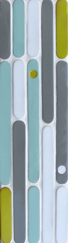 Spring Collection Preview: 1x10 and 1x5 Round Tip Field tiles with 1x10 Lolly Dot Deco in two colors. Shown in Malibu Blend.