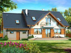 DOM.PL™ - Projekt domu DN KARMELITA GOLD 2M CE - DOM PC1-56 - gotowy koszt budowy Home Fashion, House Plans, Sweet Home, Exterior, House Design, Cabin, How To Plan, House Styles, Modern