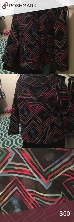 Rare Roxy ski coat with geometric Galaxy pattern Size XS. Selling because it's a little too small on me now. Fits like an XS/S. Has moons and clouds on it along with the colorful squares. Removable hood, powder skirt, very warm and comfy. Roxy Jackets & Coats Puffers