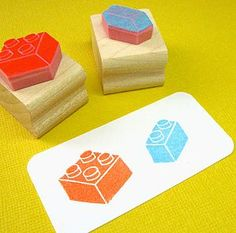Building Bricks Hand Carved Rubber Stamps