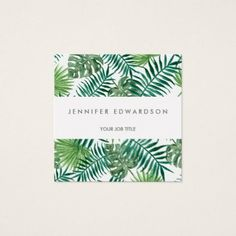 Modern tropical watercolor leaves professional square business card - architect gifts architects business diy unique create your own