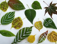 hojas verdes pintadas muy bonitas