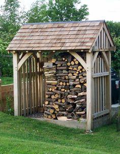 LOG STORE, garden store, solid oak, oak frame, wooden store, traditionally made | eBay