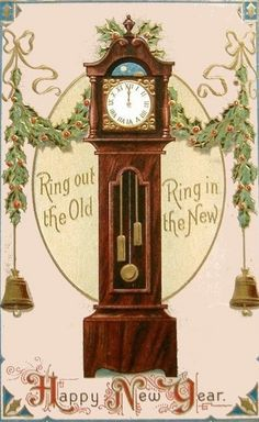 Vintage New Year Postcard of old grandfather clock. Vintage Happy New Year, Happy New Year Cards, New Year Greeting Cards, New Year Greetings, Vintage Greeting Cards, Vintage Postcards, Vintage Images, Holiday Postcards, Christmas Gift Tags